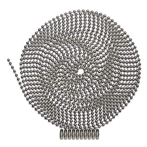 Kugelkette, Nummer 3, vernickelter Stahl, 10 passende Verbindungsstücke.