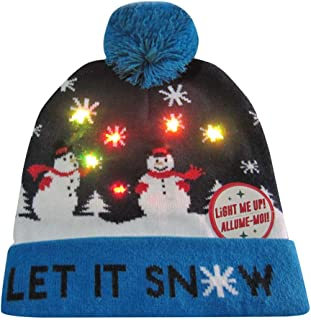vermers Christmas Caps and Hats LED Light-up Knitted Ugly Sweater Holiday Xmas Christmas Beanie Hats
