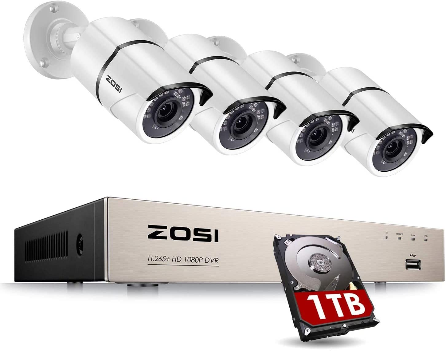 ZOSI 8CH Full True 1080P Video Security DVR 4X 1080P HD Weatherproof Surveillance Camera System 1TB HDD (100ft Night Vision, Motion Alert, Smartphone& PC Easy Remote Access) (Renewed)