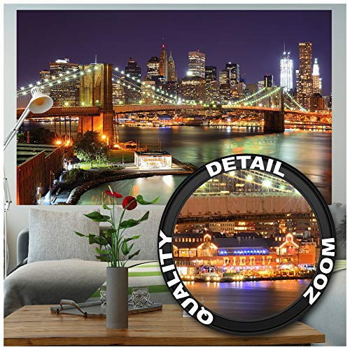 Great Art Muurafbeelding - New York - Muurschildering Decoratie Brooklyn Bridge 's nachts oplichtende wolkenkrabber Skyline Wall Street USA Deco Fotobehang Muurbehang Fotoposter Wanddeko (210x140 cm)
