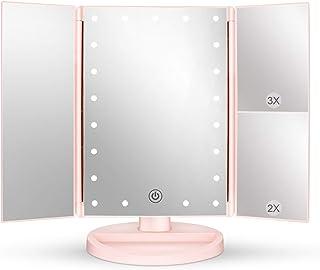 deweisn Miroir Maquillage Lumière avec 21 LED, Miroir Grossissant Triple 2X/3X/1X Réglable Écran Tactile Rotation 180° Mir...