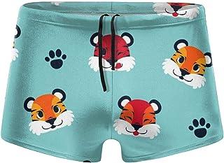 Vector Flower Seamless Pattern Men's Beach Swimming Trunks Boxer Brief Swimwear Underwear Board Shorts