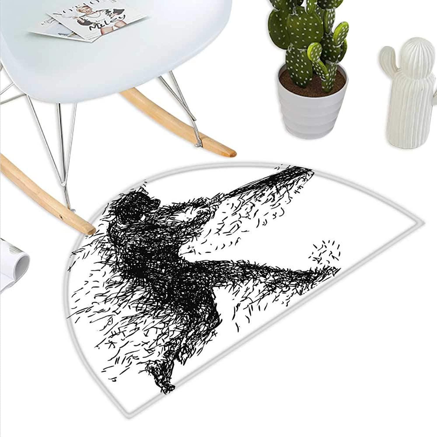Black and White Semicircle Doormat Abstract Artistic Illustration of a Baseball Player Posing Grunge Sports Halfmoon doormats H 31.5  xD 47.2  Black White