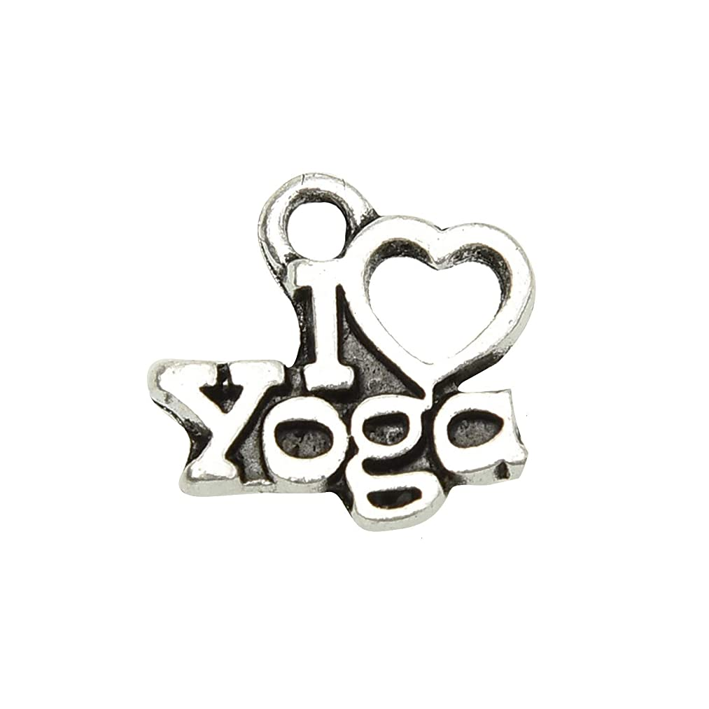 Monrocco 40 Pieces Yoga Charms Pendants for Jewelry Making Beads Bracelet DIY 13x12mm