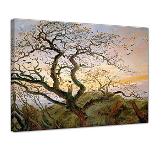 Wandbild Caspar David Friedrich Der Baum der Krähen - 70x50cm quer - Alte Meister Berühmte Gemälde Leinwandbild Kunstdruck Bild auf Leinwand