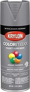 Krylon K05550007 COLORmaxx Spray Paint, Aerosol, Deep Gray