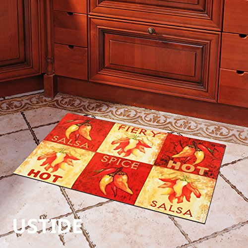 Ustide Design Home Decor Classic Chili Prints,Modern Design Kitchen Rug Nonskid Door Mat 18'' x 30''