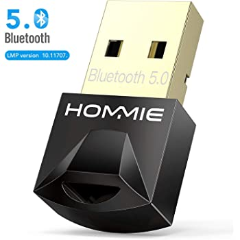 Chiave Bluetooth Usb 5.0,Hommie 20M usb Bluetooth Plug And Play,Adattatore Bluetooth Usb per Window7/8/10, Adattatore Bluetooth per Cuffie Tranne Apple, Altoparlanti, Mouse, Tastiera non per Linux