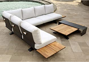 Venice Aluminium Corner Lounge with Built in Timber Side Tables - Outdoor Lounges, Outdoor Furniture - Bay Gallery Furniture