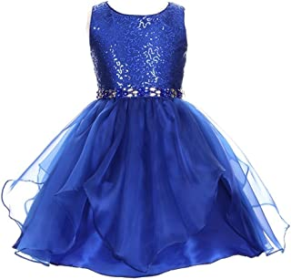 f142166d00c62 Cinderella Couture Little Girls Royal Blue Sequin Organza Rhinestone Christmas  Dress 2-6