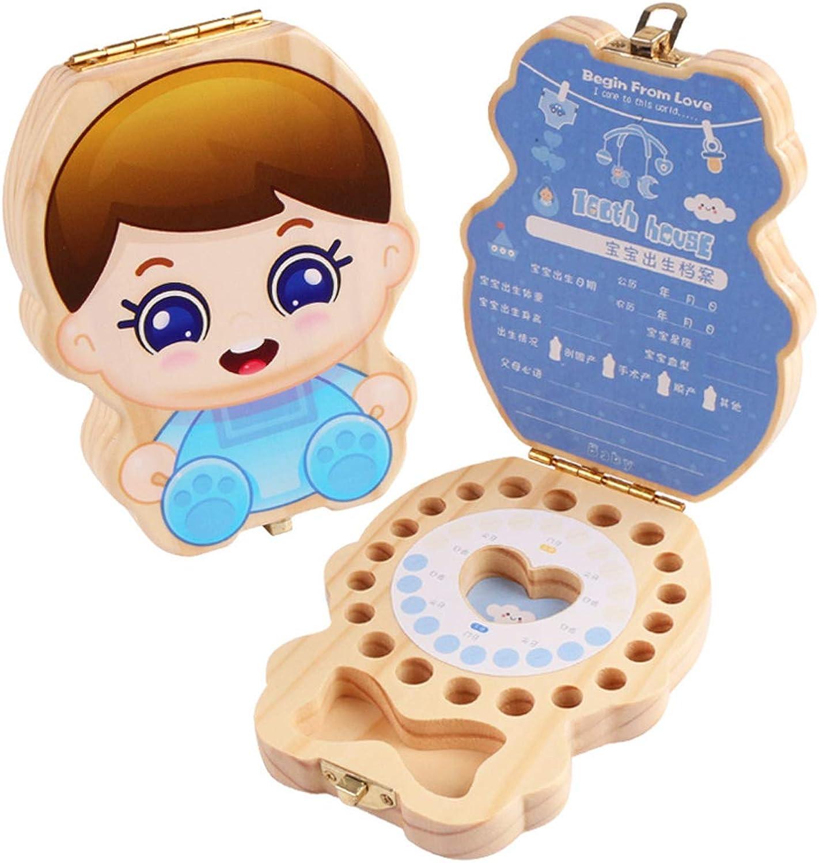 Baby Teeth Box Cartoon Pattern, Wooden Tooth Keepsake Box for Kids,Umbilical Cord Lanugo Storage Boxes,Boy