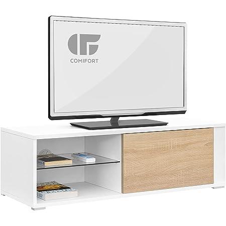 COMIFORT TV Stand - Table de Salon Moderne, Porte avec système d'encliquetage, étagère en Verre trempé, très Robuste, fabriqué en Europe, Couleur Blanc et chêne