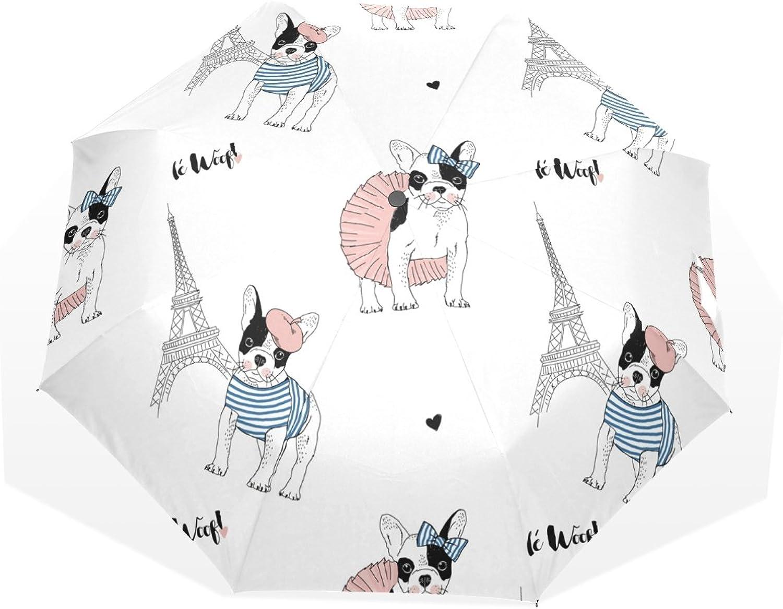 GUKENZ French Bulldog Paris Eiffel Tower Travel Umbrella Lightweight AntiUV Sun Rain Umbrella for Men Women and Kids, Windproof Folding Compact Umbrellas
