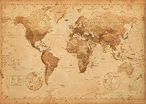 GB Eye Ltd  Antique Style -  Mapa del Mundo, Poster Gigante, 100 x 140 cm