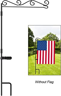 """HOOSUN Garden Flag Stand, Premium Garden Flag Pole Holder Black Metal Powder-Coated Weather-Proof Paint, 37.9"""" H x 15.7"""" W for Outdoor Garden Lawn Without Flag"""