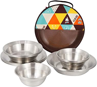 Camping Stainless Steel Tableware (16 Sets), Portable, Non-toxic, Easy To Clean, Durable, Four Different Sizes, With Storage