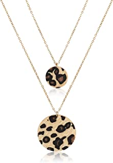 CEALXHENY Long Necklaces for Women Double Layer Necklaces Y Shape Horsehair Disc Pendant Necklaces for Girls