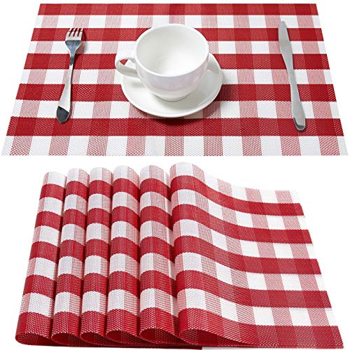 DOLOPL Christmas Placemat Red and White Placemats Buffalo Check Table Mats Set of 6 Easy to Clean Wipeable Washable Farmhouse Modern Outdoor Placemats for Kitchen Dining Table Christmas Decorations
