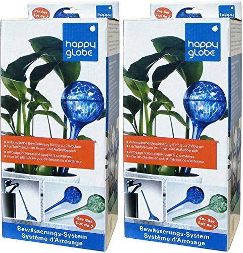 Feelino 4 Stück 9cm Grosse Glas-Bewässerungskugeln Happy Globe zur automatischen Bewässerung für ca. 14 Tage, Durstkugeln, Wasserkugeln