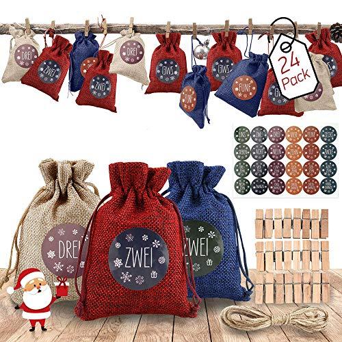 AODOOR 24 Adventskalender zum Befüllen, Weihnachten Geschenksäckchen Bastelset mit 1-24 Adventszahlen Aufkleber, Adventskalender Säckchen, Stoffbeutel, Geschenksäckchen für DIY Handwerk Männer Kinder