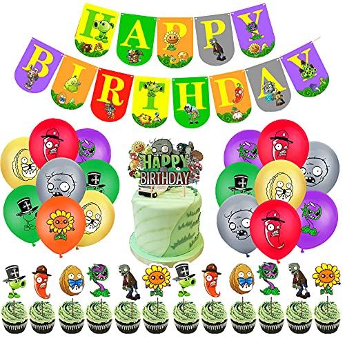 CYSJ Plants vs. Zombies Kit de Suministros para Fiestas 32 pcs Suministros para Fiesta de cumpleaños para niños, Incluido Globo Banner Kit , Cumpleaños Decoracion