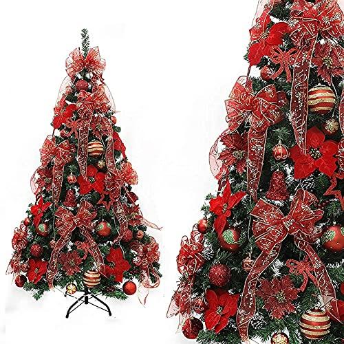 CLORURO DE POLIVINILO Árbol de Navidad de Lujo 120 cm / 4 pies fáciles de ensamblar el árbol de Navidad Artificial Decorativo con Adornos y Luces Verde (Color : MediumGreen, Size : 150cm/5ft)