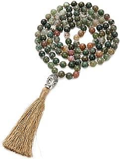 BALIBALI 108 Mala Rosary 8mm Beads Yoga Buddha Necklace Natural Stone Meditation Statement Necklace Japa Mala Prayer Beaded Tassel Necklace
