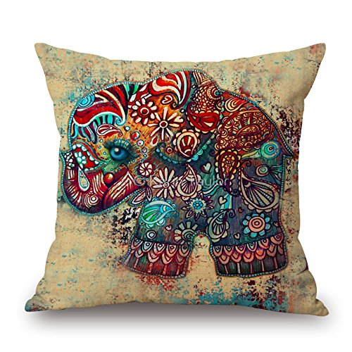 Art Watercolor Elephant cotone cuscino divano Home Decor design quadrato 45cm floreale popular Fashion Pillow case, Cotone, W-45-88134, 17.7X17.7inch