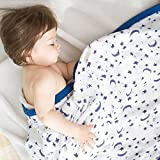 Starry Sky Muslin Stroller Blanket - Bamboo Summer Blanket for Toddler - Oversized 47' x 47' - 2 Layers Muslin Baby Blanket for Baby Boy (Starry Sky)