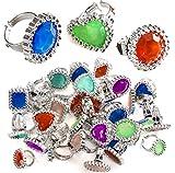 Tigerdoe Rhinestone Plastic Rings Princess Accessories - Princess Theme Party Favors - Bulk Assorted Toy Rings
