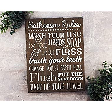 Elegant Signs Bathroom Rules Sign Rustic Kids Art Wall Decor