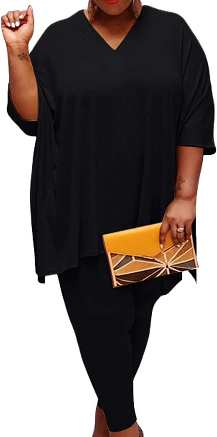 Plus Size Short Sets - Stretchy Two Piece Outfit Plus Size T Shirt Tops + Bodycon Shorts