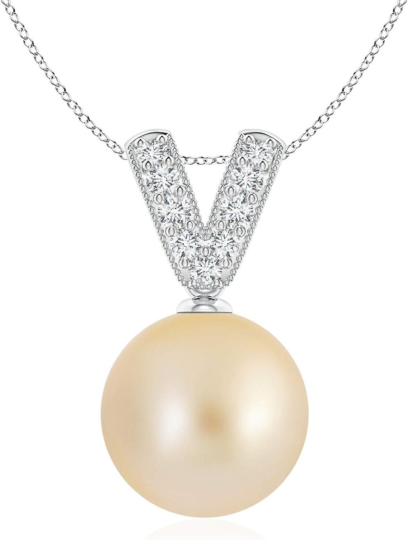 Golden South Sea Cultured Pearl Diamond V-Bale Be super welcome G Pendant Sacramento Mall 10mm