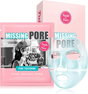 Faith in Face 10 Pcs Missing Pore Tightening Minimizing Hydrogel Facial Sheet Mask Pack, Sebum Oil Control Hydrating Salicylic Acid Witch Hazel Extract Clarifying Tightening K Beauty Skincare