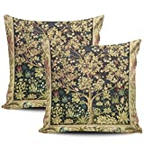 LEKAIHUAI Home Decoration Throw Pillow Cases Covers William Morris Tree of Life Floral Vintage Art Pillowcases Square Two Sides Print 20x20 Inches Set of 2