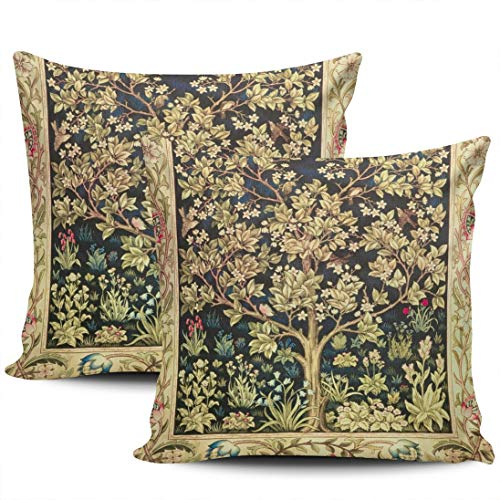 LEKAIHUAI Home Decoration Throw Pillow Cases Covers William Morris Tree of Life Floral Vintage Art Pillowcases Square Two Sides Print 16x16 Inches Set of 2