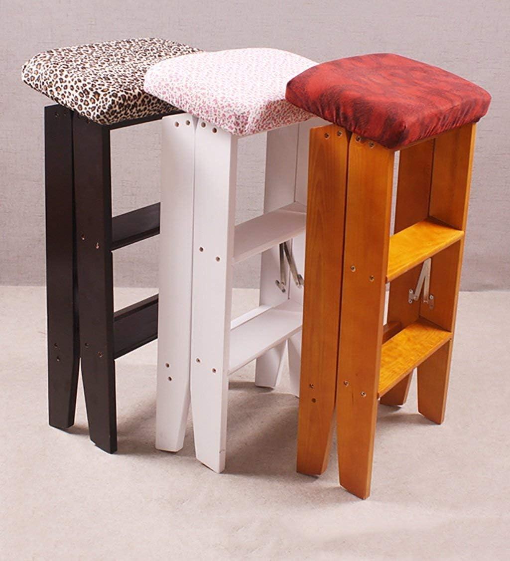 Pouf Tabouret utilité bois chaise échelle pliable en arrière échelle de selles support de fleurs à usages multiples (Couleur: B) Montage facile (Color : C) B