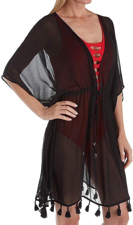 blue Rod Beattie Women's Plunge High Waist Cinch Tie Tunic Swim Cover Up Black L