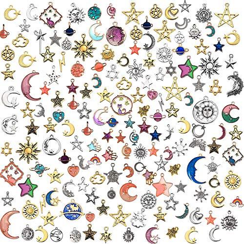 Flymind 170 dijes de joyería colgantes mezclados de plata envejecida, chapado en oro, esmaltado, gato, sol, estrella, luna, colgantes celestiales para pendientes, collares, pulseras y manualidades