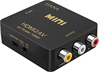 HDMI to RCA,HDMI to AV, GANA 1080P HDMI to 3RCA CVBS AV Composite Video Audio Converter Adapter Supports PAL/NTSC with USB...