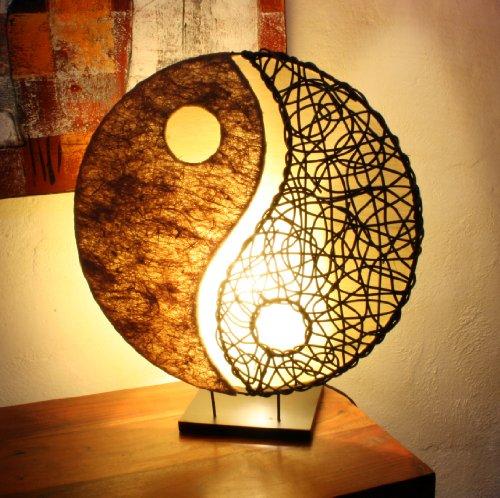 Guru-Shop Tischlampe/Tischleuchte Ying & Yang, in Bali Handgemacht aus Naturmaterial, Sisal, Rattan, Braun, 50x45x18 cm, Asiatische Tischlampen