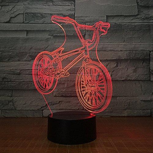 Jiushixw 3D acryl nachtlampje met afstandsbediening, kleur tafellamp, fiets, tafel, vrienden, spelcadeau, drop, tafellamp, combinatie