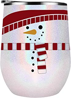 Cute Snowman with Scarf - Funny Holiday Gift for Mom, Wife, Girlfriend, Grandma or Best Friend - on 12 oz White Glitter Wine Tumbler