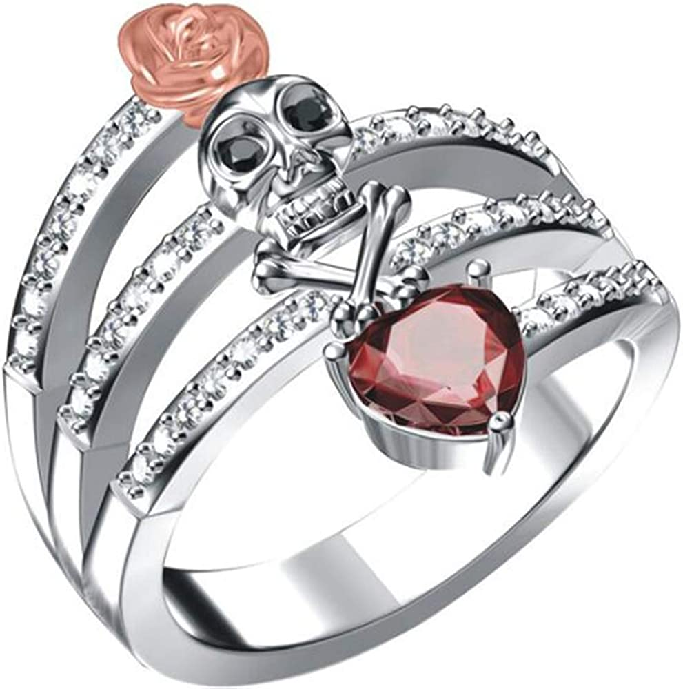 Jude Jewelers White Gold Plated Cocktail Philadelphia Mall Heart Shaped Max 90% OFF Rose Skull
