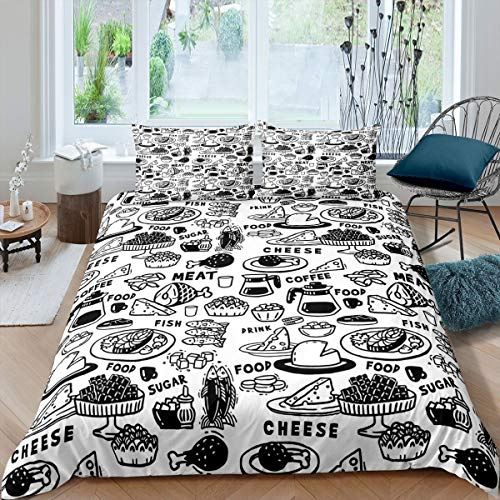 Black White Cheese Food Meat Bedding Cover Single Coffee Sugar Lunch Bedding Set Polyester Christmas Comforter Cover for Young Children 100% Soft Bed Cover quilt 2pcs (1 Duvet Cover with Pillowcases)