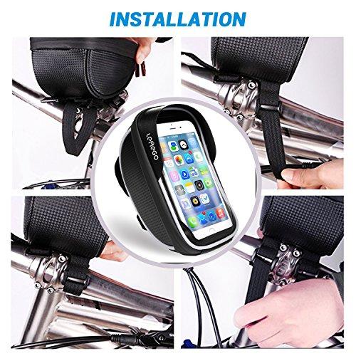 LEMEGO Wasserdicht Fahrradlenkertasche Handyhalterung Handyhalter Fahrrad Tasche Fahrradtasche Rahmentaschen für Handy GPS Navi und andere Edge bis zu 6 Zoll Geräte - 4