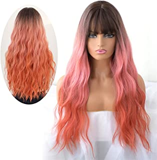 7JHH WIG Hair Dye Wig for Women, Heat Resistant Synthetic Hair Natural Long Wavy Curly Wig With Free Wig Cap (LivingCoral)