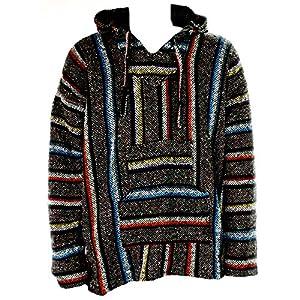 Sudadera con capucha estilo mexicano, diseño hippy, talla S a XXL, color gris y multicolor   DeHippies.com
