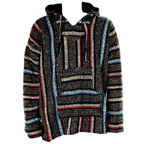 Maglione messicano stile baja e jerga con cappuccio, grigio con strisce multicolori, stile hippie, per festival, taglie M, L, XL, XXL multicolore M
