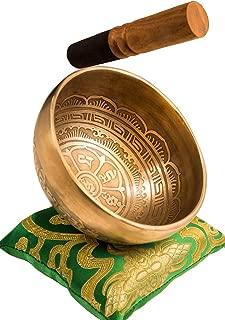 Tibetan Handmade Singing Bowl Set By YAK THERAPY - Om Mani Padma Hum - Excellent Resonance Healing & Meditation Yoga Bowl with Mallet, Silk Cushion, & Silk Bag – Crown Chakra Balancing – Made in Nepal